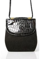 Stuart Weitzman Brown Suede Gold Tone Mock Croc Contrast Flap Crossbody Handbag