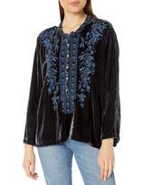 Pete & Greta By Johnny Was by Johnny Was Women's Long Sleeve Velvet top with Blue Embroidery
