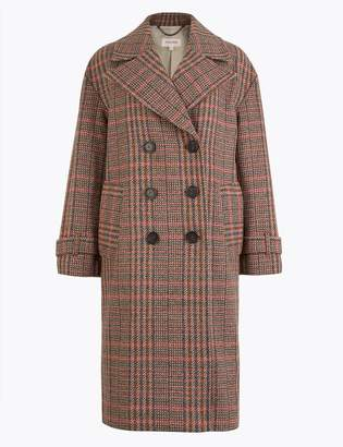 Per Una Per UnaMarks and Spencer Wool Blend Checked Double Breasted Coat