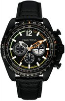 Nautica NAI22506G 46mm Stainless Steel Case Black Calfskin Mineral Men's Watch