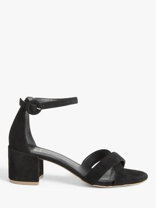 John Lewis & Partners Jonie Suede Block Heel Cross Strap Sandals