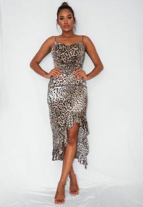 Missguided Gray Leopard Ruffle Side Midi Dress