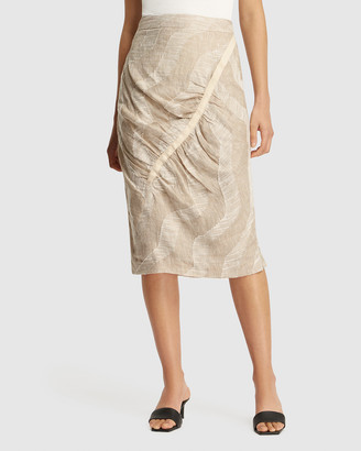 FRIEND of AUDREY - Women's Brown Pencil skirts - Nadine Gathered Linen Print Skirt - Size One Size, 8 at The Iconic