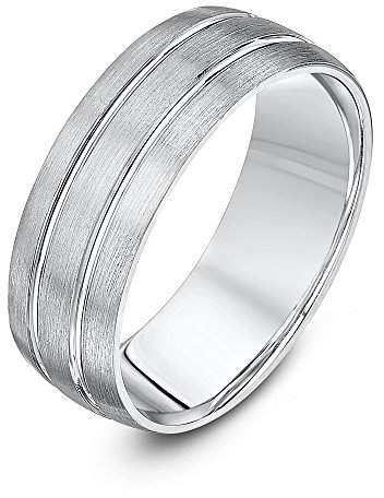Theia Palladium 950 - Heavy Weight Court Shape 7mm Matted and Polished Grooved Wedding Ring - Size O
