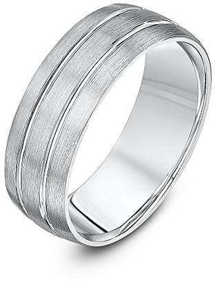 Theia Palladium 950 - Heavy Weight Court Shape 7mm Matted and Polished Grooved Wedding Ring - Size X