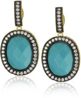 "Freida Rothman Hamptons"" Two-Tone Cubic Zirconia and Simulated Turquoise Earrings"