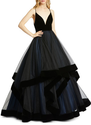 Mac Duggal Plunging V-Neck Velvet Trim Tiered Ball Gown