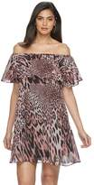 JLO by Jennifer Lopez Petite Off-The-Shoulder Ruffle Shift Dress