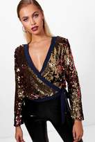 boohoo Jessy All Over Sequin Stripe Wrap Top