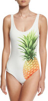 Onia Kelly Pineapple-Print One-Piece Swimsuit, White