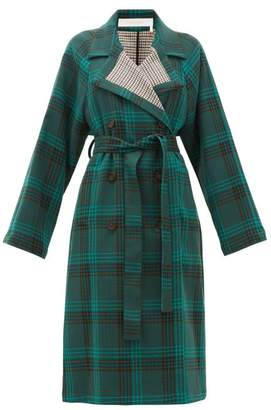 See by Chloe Belted Checked Twill Trench Coat - Womens - Green Multi