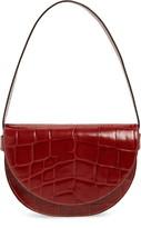 STAUD Amal Croc Embossed Leather Shoulder Bag