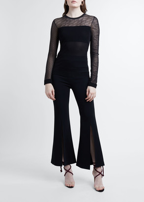 Roland Mouret Lace Knit Crewneck Top