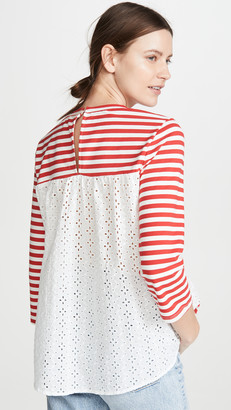 ENGLISH FACTORY Eyelet Combo Striped Top