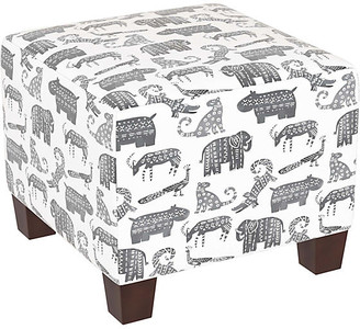 One Kings Lane Berit Kids' Ottoman - Gray Linen - frame, espresso; upholstery, gray/white