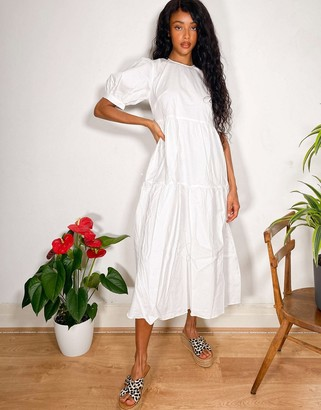 Nobody's Child tiered midi smock dress in white