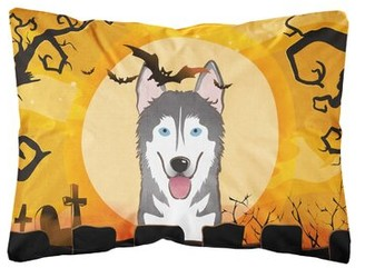Shelley The Holiday Aisle Halloween Alaskan Malamute Fabric Indoor/Outdoor Throw Pillow The Holiday Aisle