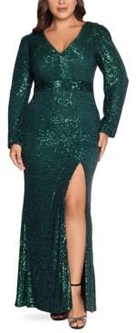 Xscape Evenings Plus Size Allover-Sequin Gown