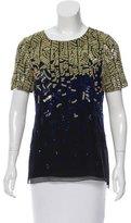J. Mendel Sequin Embellished Silk Top