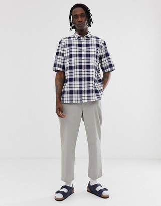 Asos DESIGN boxy check shirt in blue and white
