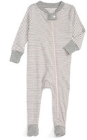 Infant Girl's Burt's Bees Baby Stripe Fitted One-Piece Footed Pajamas