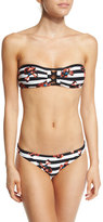 Proenza Schouler Falling Flowers Striped Bandeau Two-Piece Swimsuit