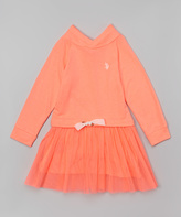 U.S. Polo Assn. Neon Orange Cowl Neck Dress - Girls