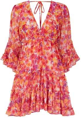 MISA Los Angeles Yasemin Floral Ruffled Mini Dress