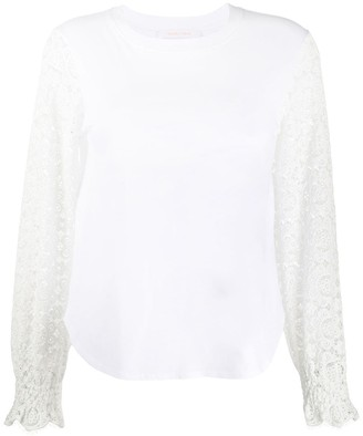 See by Chloe Embroidered Sleeve Curved Hem Top