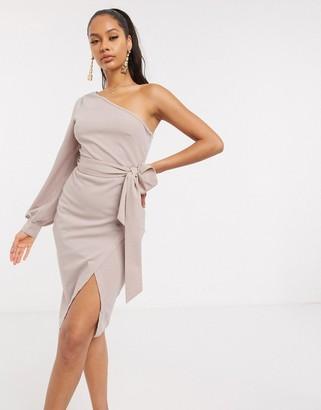 AX Paris one sleeve mini dress in mink