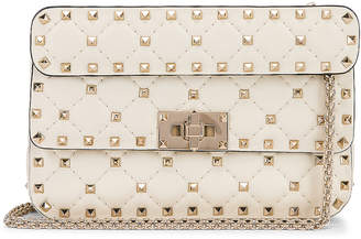 Valentino Rockstud Leather Spike Chain Shoulder Bag in Light Ivory | FWRD