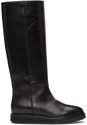 LEGRES Black Wedge Riding Boots