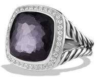 David Yurman Albion Ring with Diamonds and Faceted Black Orchid