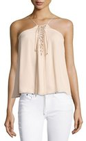 Haute Hippie Cross My Heart Grecian Laced Silk Camisole, Ballet