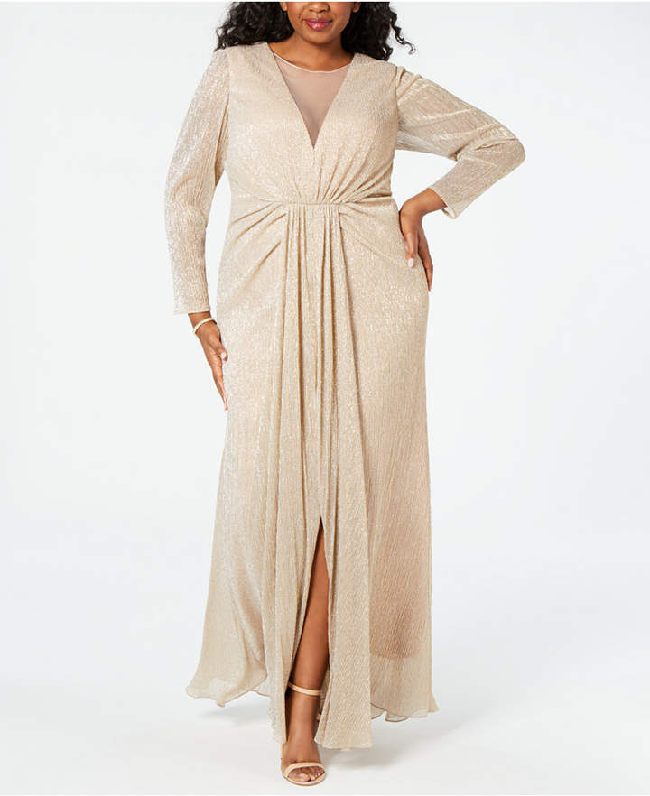 Plus Size Draped Illusion Metallic Gown