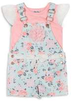 Little Lass Little Girl's Two-Piece Lace-Sleeve Top and Floral-Print Shortall Set