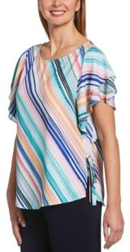 Rafaella Salerno Stripe Short Flutter Sleeve Shirt