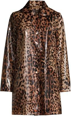 Donna Karan Leopard-Print Rain Coat