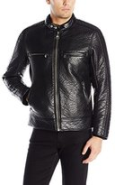 Andrew Marc Men's Gramercy Bubble Faux Leather Moto Jacket