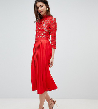 Little Mistress Tall 3/4 Sleeve Lace Top Pleated Midi Dress-Red