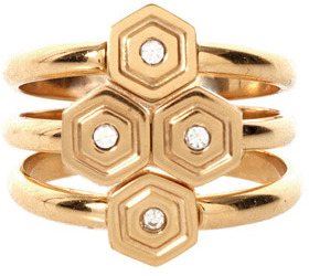 Rebecca Minkoff Hexagon Stackable Ring in Gold
