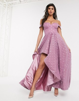 Bariano star glitter bardot shoulder full skirt maxi dress in lavender