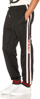 Gucci Technical Jersey Pant in Black & Ivory & Live Red | FWRD
