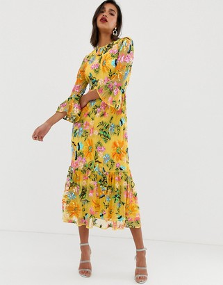 Asos Edition EDITION embroidered and beaded midi dress with peplum hem-Yellow