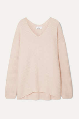 Allude Ribbed Cashmere Sweater - Pastel pink