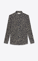 Saint Laurent Tops And Blouses Shirt In Dotted Crepe De Chine Blue 10