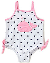 Starting Out Baby Girls 12-24 Months Whale-Embroidered Polka-Dot One-Piece Swimsuit