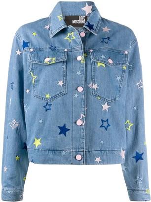 Love Moschino star embroidered denim jacket