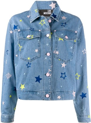 Love Moschino Star Embroidered Denim Jacket
