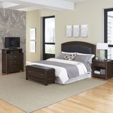 Home Styles Crescent Hill 4-piece Leather Upholstered Headboard, Nightstand, Upholstered Bench, and Media Drawer Set